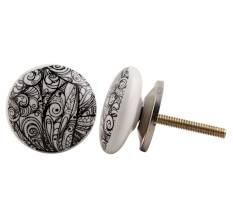 Ceramic flat floral pattern knobs