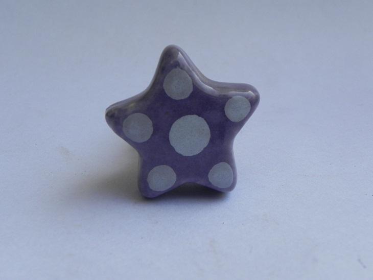 Purple Dotted Star Shape Knob