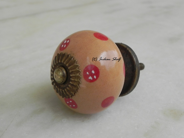 Camel Red Dotted Round Knob