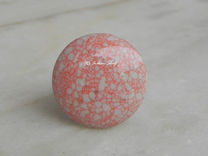 Pink Flat Crackle Ceramic Knob