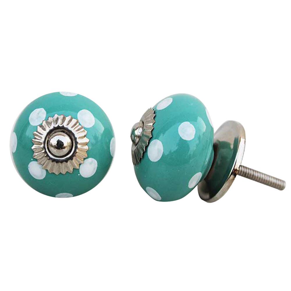 Sea Green Dotted Ceramic Knob