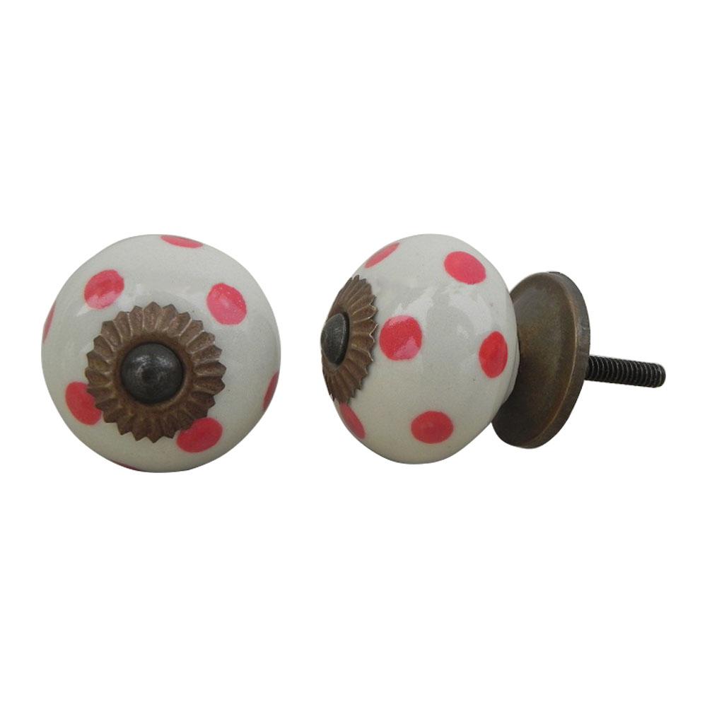 Cream Red Polka Dot Ceramic Dresser Knob