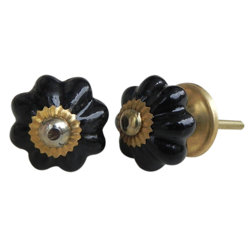 Black Ceramic Knob Small