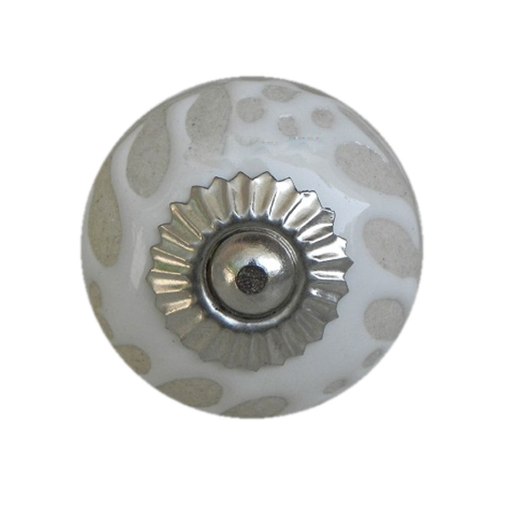 White Etched Ceramic Knob-28