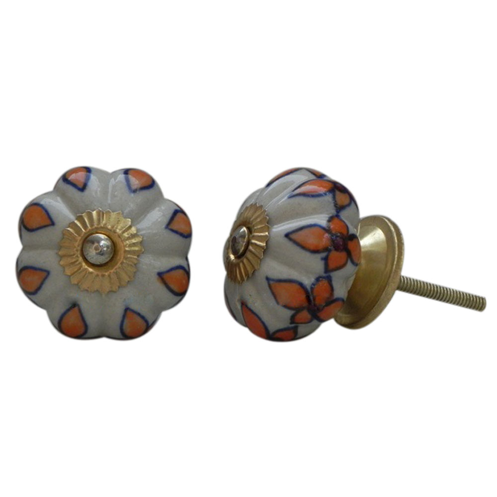 Orange Leaf Ceramic Knob