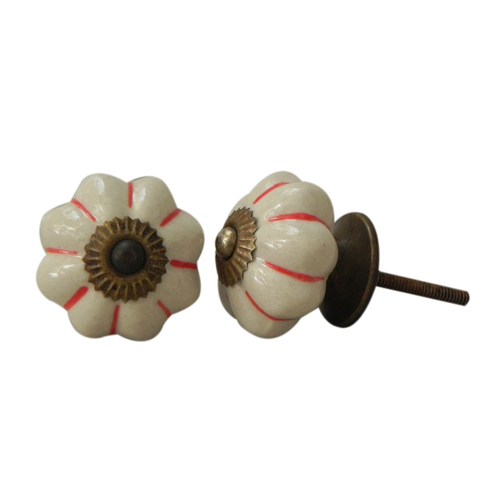 Cream Red Ceramic Knob