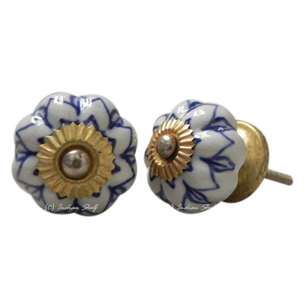 Blue Flower Medium Knob