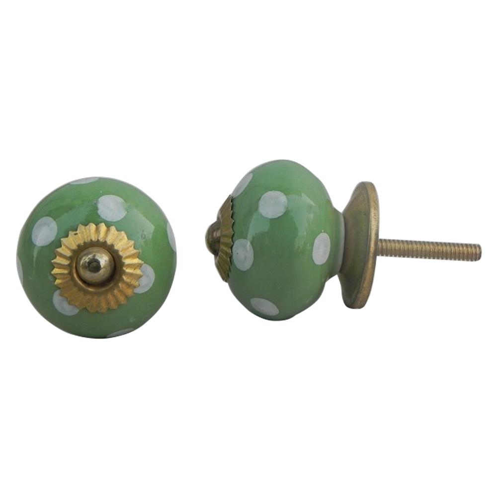 Green Polka Dotted Ceramic Dresser Knob
