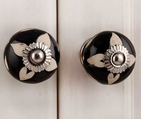 Black Etched Ceramic Knob 40