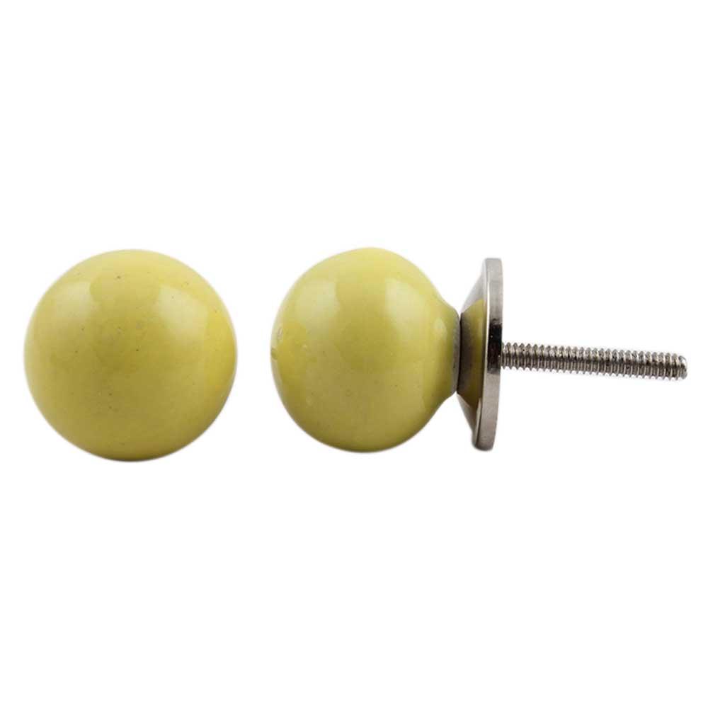 Yellow Round Ceramic Knob