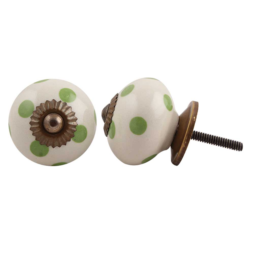 Cream Green Polka Ceramic Drawer Knob