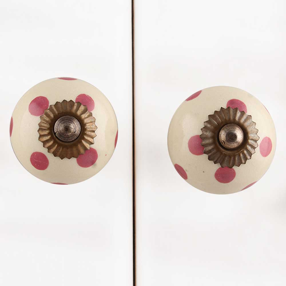 Cream Pink Polka Dotted Ceramic Knob