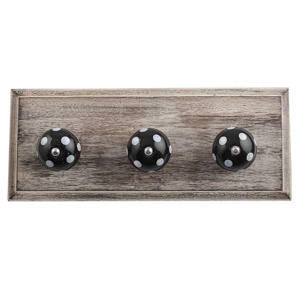 Black White Dot Wooden Hooks