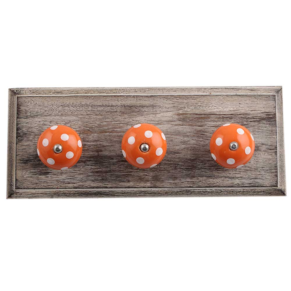Orange White Dot Wooden Hooks