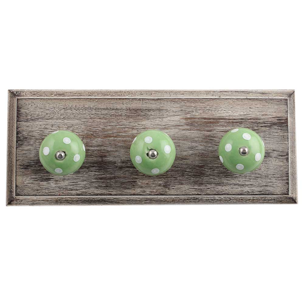 Pea Green White Dot Wooden Hooks