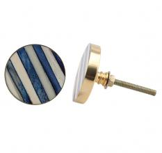 Round Slate Blue White Metal and Bone Knob