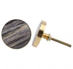 Round Grey Metal and Bone Knob
