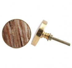Round Brown Metal and Bone Knob