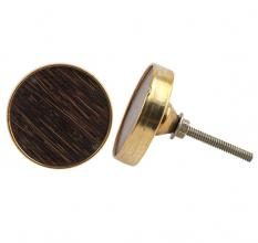 Round Brown Metal and Wood Knob