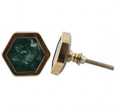 Hexagon Sea Green Stone and Metal Knob