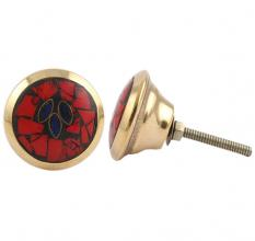 Round Red Stone and Metal Knob