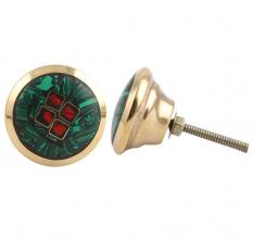 Round Green Stone and Metal Knob