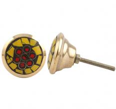 Round Yellow Stone and Metal Knob