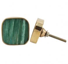 Square Sea Green Bone and Metal Knob