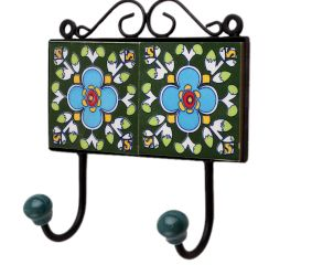 Green Floral Ceramic Tiles Hooks-462 (Set Of Ine Piece)