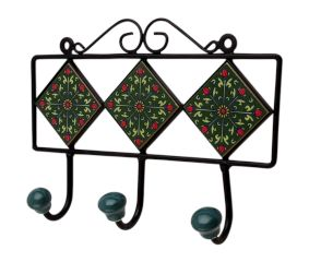 Green Floral Ceramic Tiles Hooks-466 (Set Of Ine Piece)