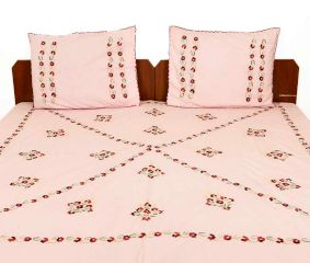 Baby Pink Cotton Bedsheet With Red Petals(Pack of 1 Piece)