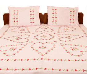 Misty Rose Cotton Double Bedsheet(Pack of 1 Piece)