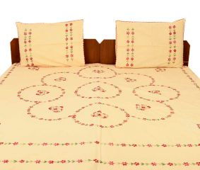 Peach Orange Cotton Embroidered Bedsheet(Pack of 1 Piece)