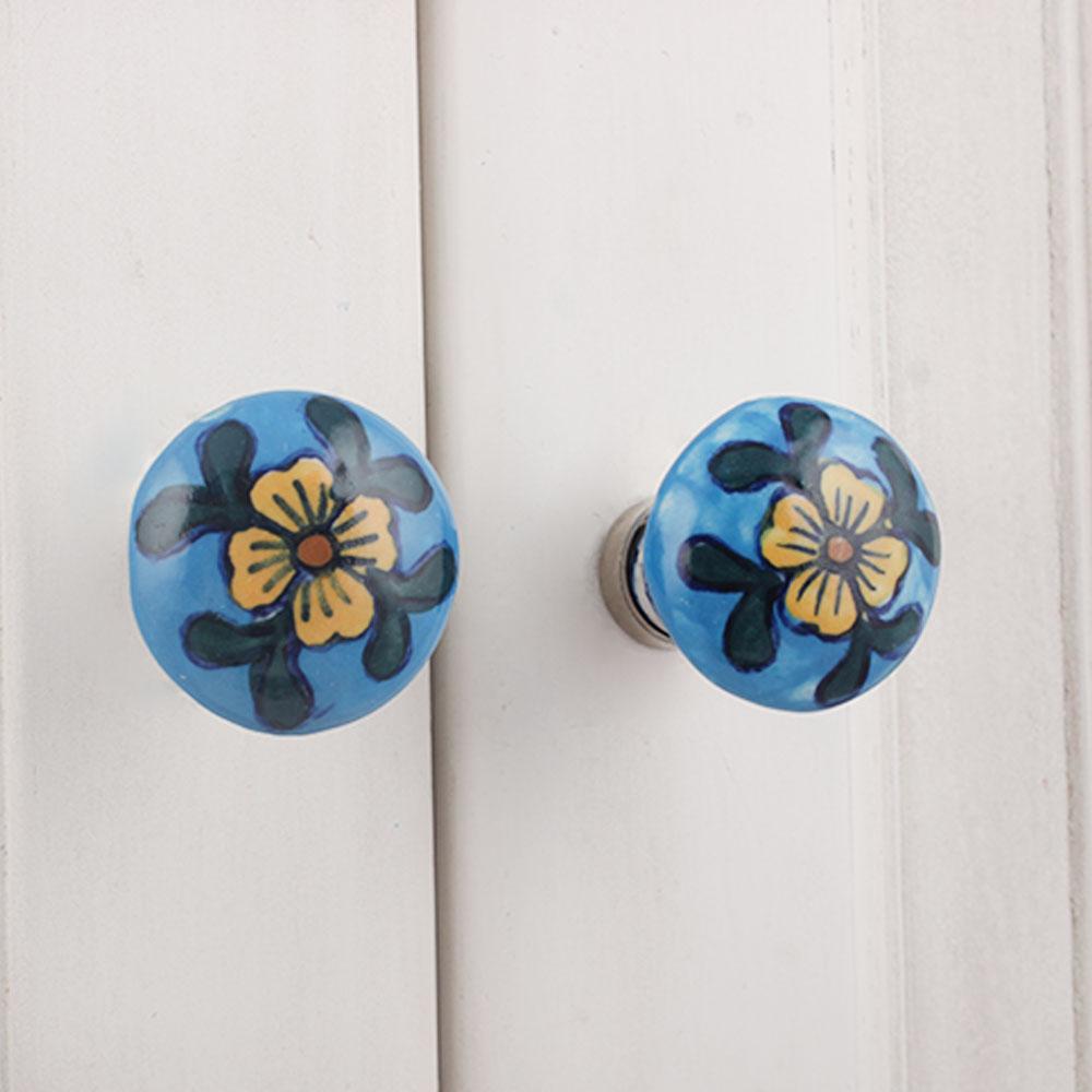 Blue Beige Floral Ceramic Bulb Knob