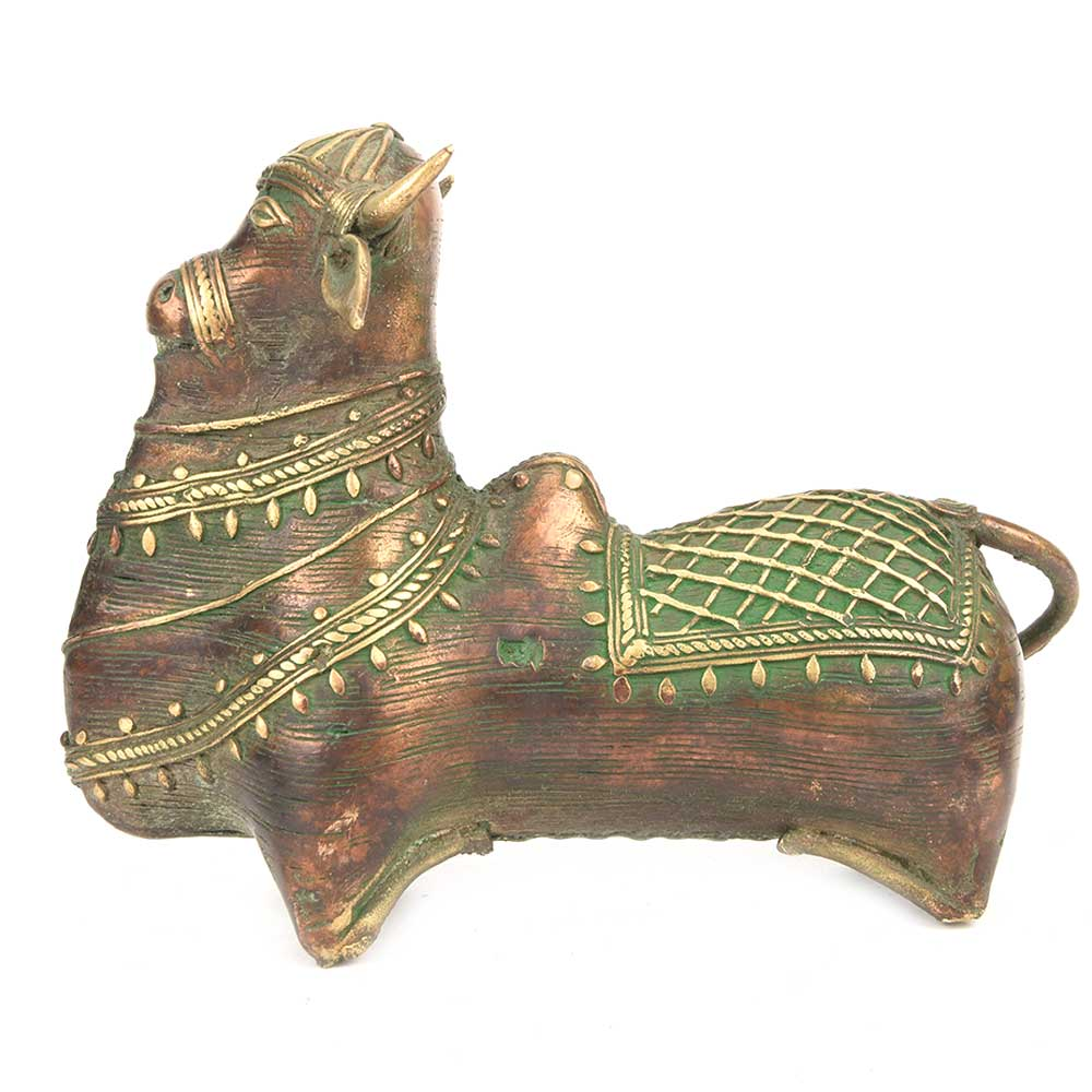 Brass Nandi Bull Sitting Statue