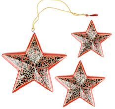 Handmade Wooden Star Christmas Ornaments (Set of 3) 'Starry Sky'