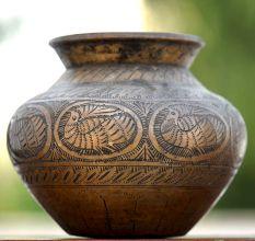 Peacock Engraved Brass Handmade Water Pot
