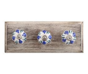 Royal Floral Ceramic Wooden Hooks
