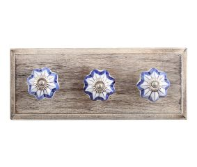 Periwinkle Blue Ceramic Wooden Hooks