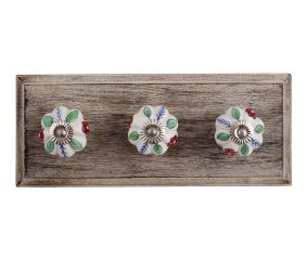 Red Dahlia Ceramic Wooden Hooks