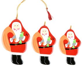 Christmas Tree Hanging Decoration Green Santa Clauses In Three Sizes