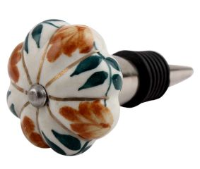 Light Caramel Plant Melon Ceramic Wine Stopper (Pack Of One Piece)
