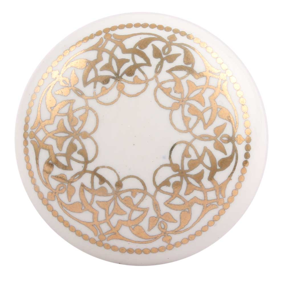Golden Rangoli Pattern Flat Ceramic Drawer Knob