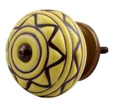 Brown Pattern Etched Ceramic Drawer Knob Online