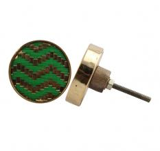 Round Green Metal and Wooden Knobs