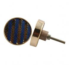 Round Navy Blue Metal and Wooden Cabinet Knobs