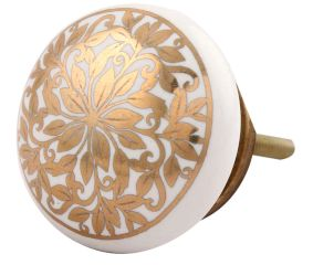 Golden Ornamental Flower Flat Ceramic Cabinet Knob