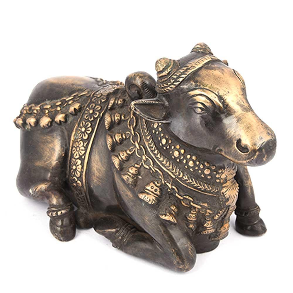 Black Brass Sitting Nandi Figurine