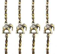 Brass Dancing Lady  Elephant and Lamp Figurine Swing Chain(Set Of 4 Pieces)