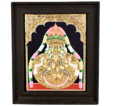 Varal Lakshmi Pooja Tanjore Painting with wooden frame